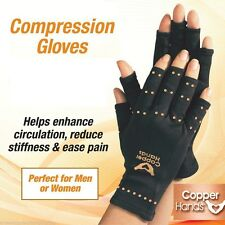 Copper TV Man Hands Arthritis Gloves As Seen on Therapeutic Black Convenient New