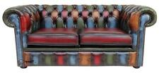 Chesterfield 2 Seater Antique Patchwork Antique Leather Sofa Settee
