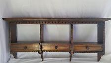 Vintage wood double wall shelf,3 drawers,Carved Accent,Arts & Crafts,decor,Italy