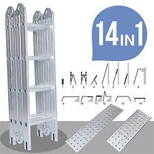 15.5FT Aluminum Multi Purpose Ladder 2 Platform Telescopic Extension Folding