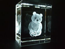 LASER CRYSTAL PAPERWEIGHT BEAR 3584 NEW PRESENTATION BOXED