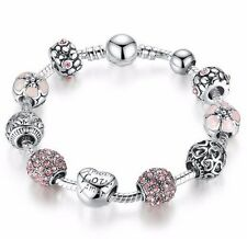 Bamoer Pandora Charm Bracelet made with 925 Sterling Silver and Quartz Crystals
