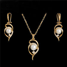 New 18k Gold Filled White Pearl Austrian Crystal Jewelry Set Earrings Necklace