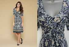 *MONSOON*Blue Verity Floral Border Print 3/4Sleeve Flatter Casual Dress sz8 EU36