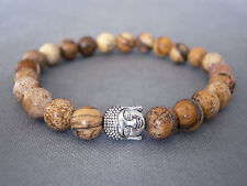 Handcrafted Semi Precious Stone Bracelet with Jasper Beads & Silver Buddha Head