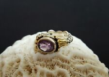 LAGOS Caviar Arcadia Sterling Silver 925 18K Gold 750 Amethyst Ring Size 6