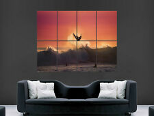 SURFING SUNSET SEA WAVES  IMAGE  LARGE WALL POSTER PICTURE