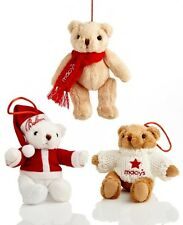 NEW Macy's Ornament Collection Set Of 3 CHRISTMAS Gund Bears New FREE SHIPPING