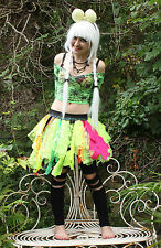 GREEN PINK LACE FAIRY SKIRT TUTU FESTIVAL GOTHIC EMO PIXIE ALT INDIE GRUNGE