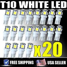 20 PCS T10 LED Light Bulbs White Wedge Bulb 5-SMD 5050 W5W 158 192 168 194 HID