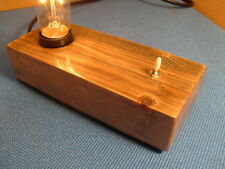 Steampunk / Mancave, table / bedside lamp. Wood Block lamp