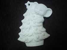 A160 - Ceramic Bisque Ornament: Mouse on Christmas Tree - 3D - Ready to Paint