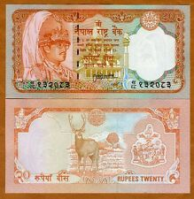 Nepal, 20 Rupees, ND (1988), P-38 (38b) Sign. 13 UNC   Deer, King Birenda