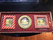 Mackenzie Childs 3 Red Green Stripe Dot 4x4 Picture Photo FabrIc Frames