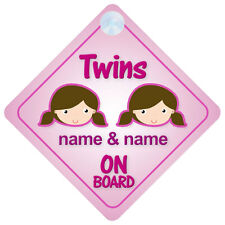 Twin Girls On Board Personalised Child/Baby Car Sign