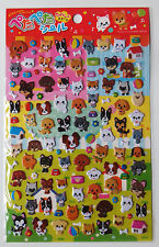 Japanese import kawaii *Cats and Zoo Animals* 2 sheets of glossy stickers