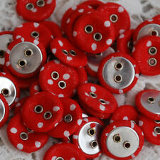 10 Fabric Covered Eyelet Sewing Shirt Buttons - Red Polka Dots - 14mm