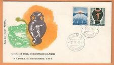 ITALIA BUSTA PRIMO GIORNO FDC ROMA 1963 GIOCHI MEDITERANEO NAPOLI ANNULLO  ROMA