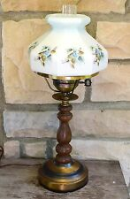 VTG WOODEN TABLE GWTW STUDENT LAMP HAND PAINTED DOGWOOD BLUE ROSES GLASS SHADE