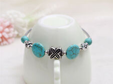 Bohemia Tibet Charms Turquoise Flower Beads Silver Cuff Bangle Bracelet Jewelry