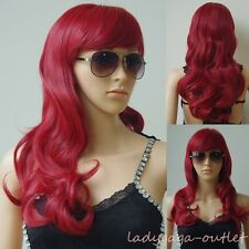 Black Brown Blonde Red Gray Pink Long Curly Straight Full Bangs Hair Wigs Womens
