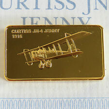 Curtiss JN-4 jenny plaqué or preuve lingot-jane 's medallic registre