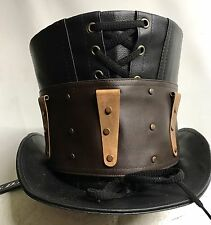 Steampunk Black Leather Look hat With Band With Copper Strips 60cm