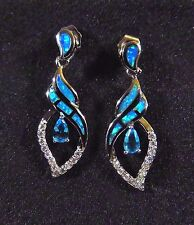 Sterling 925 Silver SF Earrings Blue Lab Fire Opal & 5*3mm Aquamarine & WT 1.25""