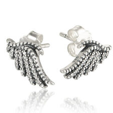 FEATHERS 925 Solid Sterling Silver Sparkling White Pave Earring Studs