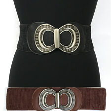 WOMEN Western Fashion ELASTIC Stretch Vintage WAIST WIDE BELT Silver Metal S~XL
