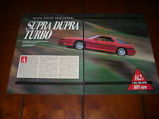 TOYOTA SUPRA TURBOCHARGED TRD  ***ORIGINAL 1989 ARTICLE***