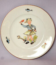 Vintage Hutschenreuther Porcelain Small Bread Plate Girl & Scooter Germany