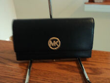 Authentic Michael Kors Fulton Large Pebbled Leather Trifold Wallet Navy Blue NWT
