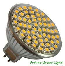 5 x MR16 60 SMD LED 3.5W 12V (10-30V DC / 10-18V AC) 330LM WHITE BULBS ~50W.