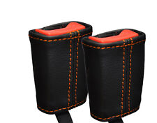 ORANGE STITCHING 2X FRONT SEAT BELT LEATHER COVERS FITS VW LUPO 1998-2005