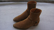 SAINT LAURENT PARIS tan suede boots size 43 uk9 hedi slimane heel WYATT big zip
