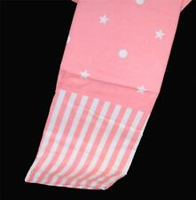 BAMBINI Rosy Pink &  White Polka Dots Stars & Stripes Shower Curtain NIP DISC