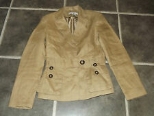 "LADIES ZARA BASIC BEIGE RAMIE LINEN FABRIC SMALL SAFARI JACKET CHEST 34"" 86cm"