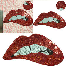 Embroidery Red Lips Iron On Patch Clothing Badge Embroidered Motif Applique DIY