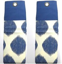 "Pair Blue & Cream 66"" x 90"" Ring Top Curtains 168cm x 229cm 100% Cotton & Lined"