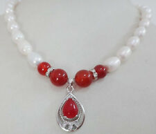 "18""12X8.4MM NATURAL SOUTH SEA WHITE PEARL RED JADE NECKLACE PENDANT"