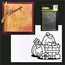 Fall Pumpkins Basket embossing folder - Darice embossing folders 1219-213 Autumn