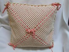 Vintage hand crochet crocheted pink and cream w ribbon decorative throw pillow