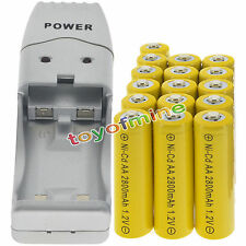 16 AA Yellow Rechargeable Batteries NiCd 2800mAh 1.2v Solar Light + Charger