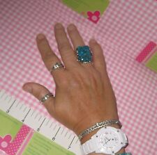 """Sterling Silver  Big 1"""" Long Turquoise & Blue Topaz  Ring New in Box  Size 10.25"""