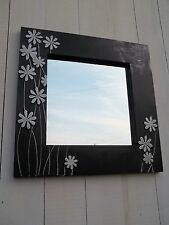 Large Contemporary Black Leather Mirror