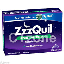 Zzzquil Nighttime Sleep Aid Support From the Makers of Vicks NyQuil 72 LiquiCaps