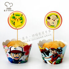Pokemon Theme Birthday Party Cupcake Decoration 24pcs Wrappers & Toppers