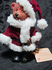 "Santa Teddy Russ Bear Christmas Ornament Holiday Figurine with Bells 5"" tall"