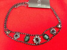 Vintage Choker Crystal Flower Green, Grey Black Great For Parties Wedding